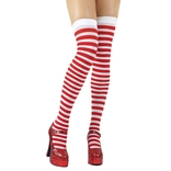 Red & White Striped Thigh Highs