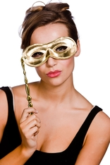 Gold Metallic Eyemask With Handle