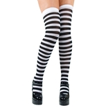 Black & White Striped Thigh Highs