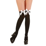 Black Thigh Highs With White Bow