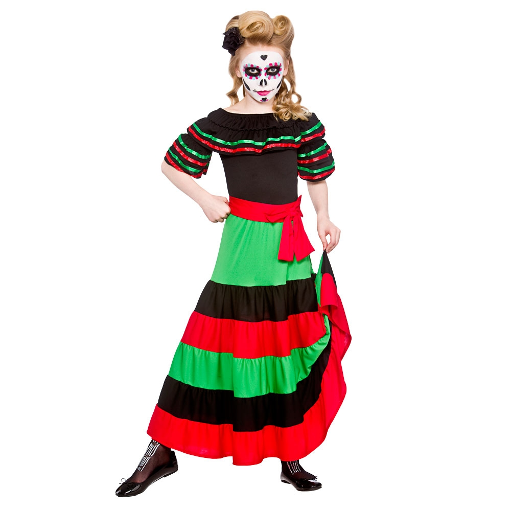 Childrens Day Of The Dead Horror Fancy Dress Up Role Play Party Costume Outfit